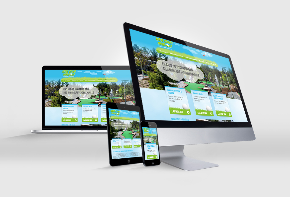 West Coast Minigolf opdatering af visuel identitet og website redesign - Responsive Website