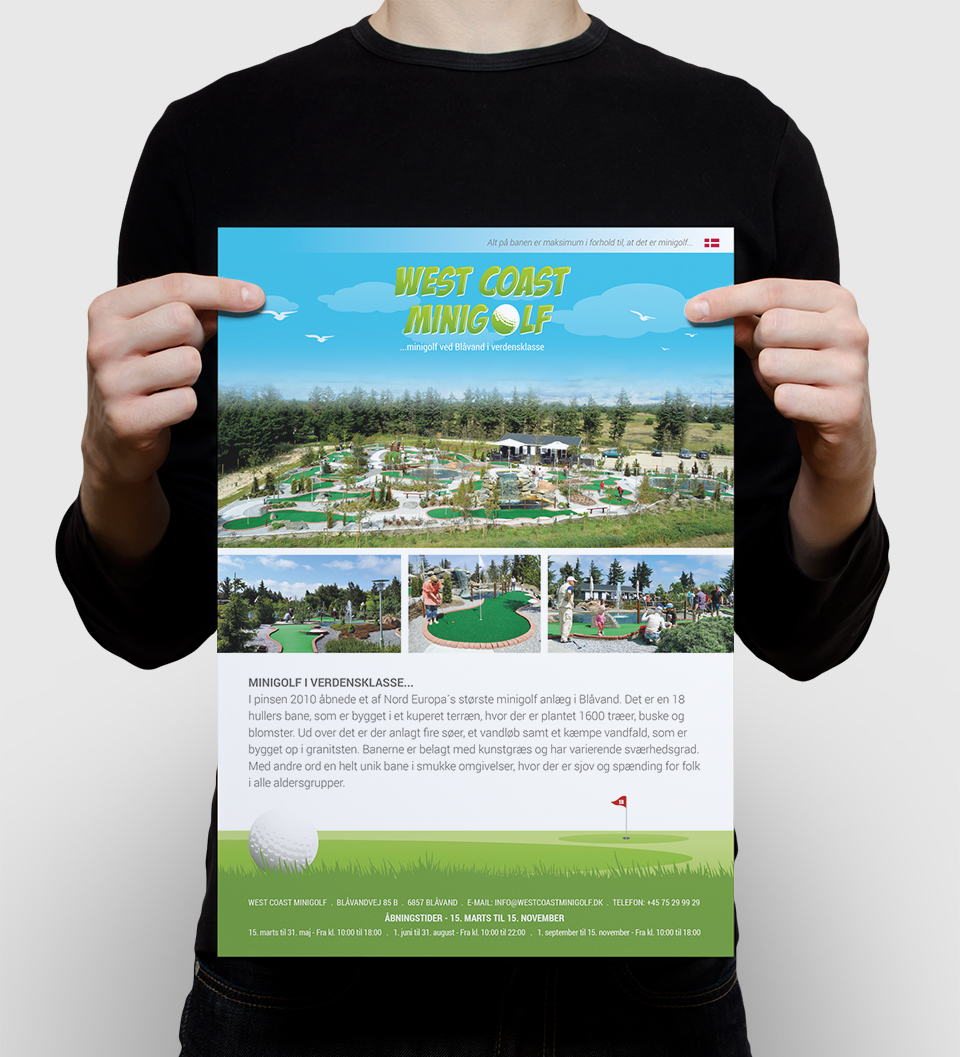 West Coast Minigolf opdatering af visuel identitet og website redesign - Flyer
